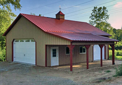 Residential Steel Pole Barn - 32' x 40' x 12'